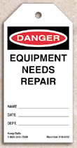 Equipment Needs Repair Tag