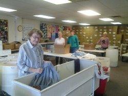 volunteers sorting room