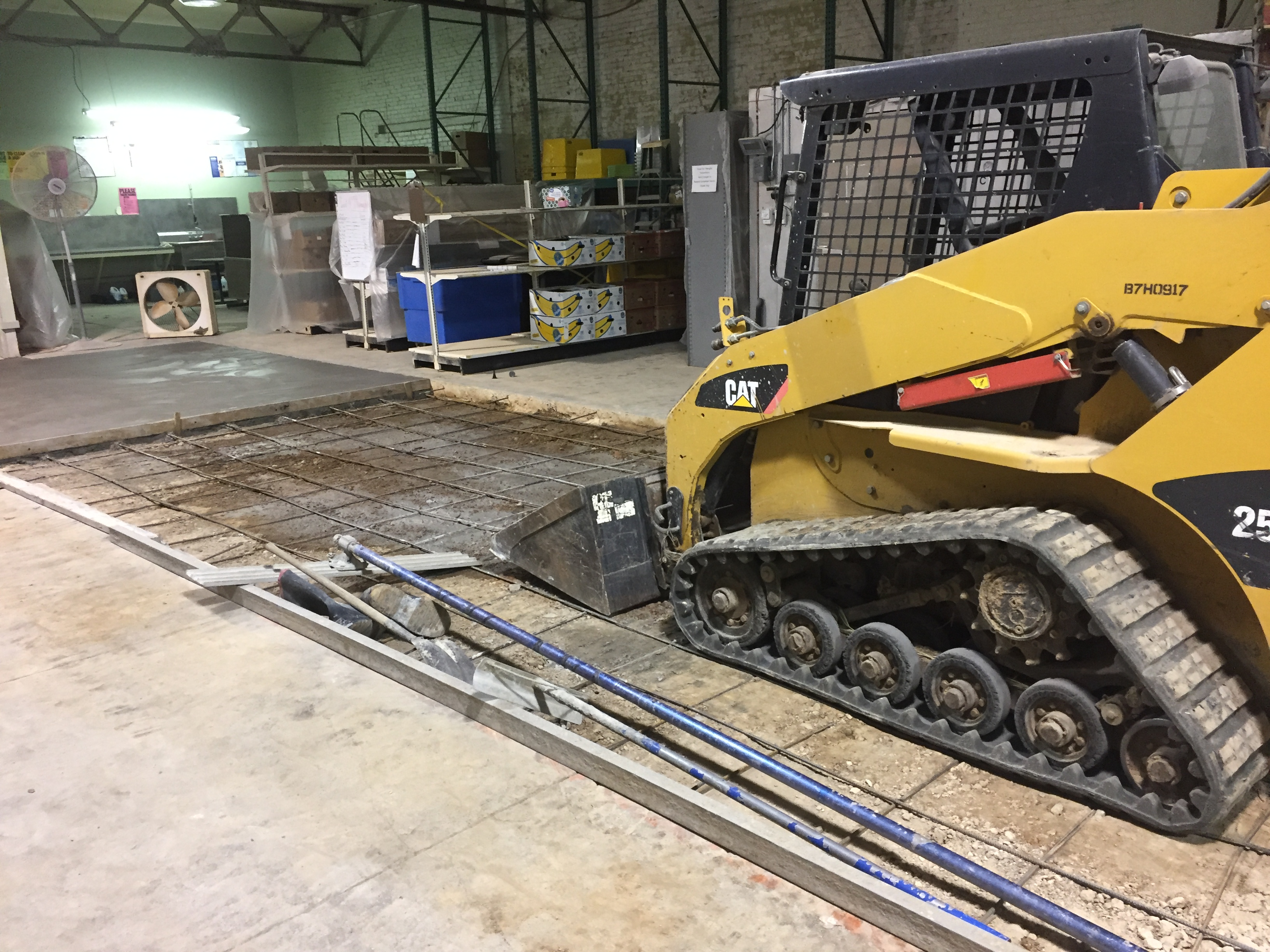 Check out the construction on our new floors in the Food Warehouse!