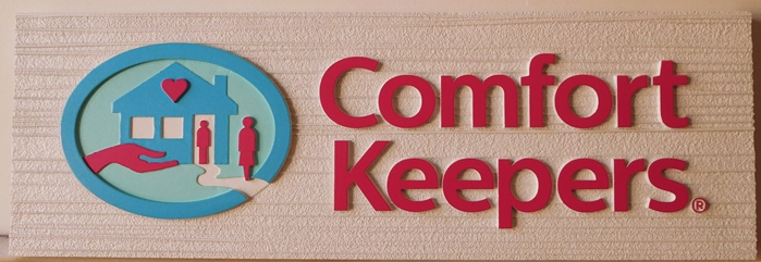 "S28103Large Carved and Sandblasted Wood Grain  HDU Commercial Sign for  ""Comfort Keepers"" ,  2.5-D Artist-Painted"
