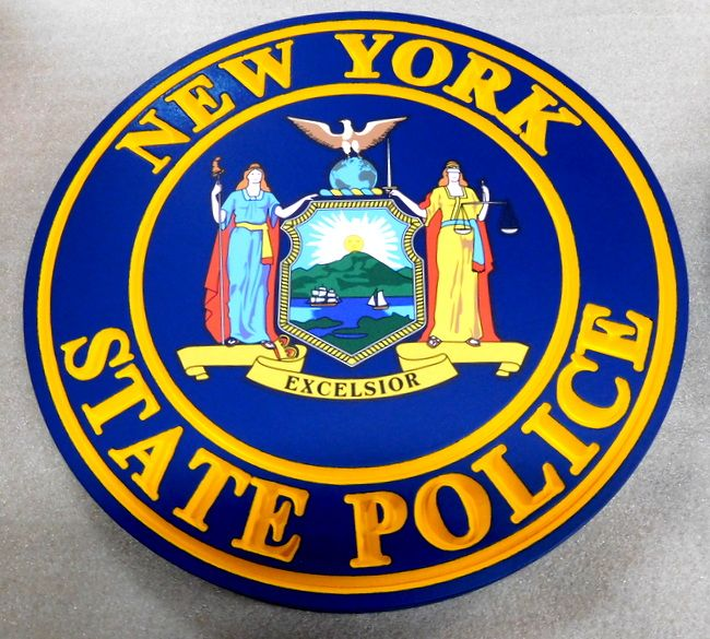 PP-3080 -  Carved  Wall Plaque of the Seal of the New York State Police, Artist Painted with Giclee Art