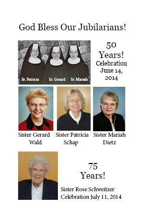 Join the 50th Jubilee Celebration of Sisters Gerard Wald, Patricia Schap and Mariah Dietz