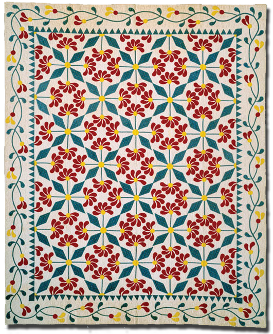Mexican Rose, maker unknown, possibly made in Kansas, United States, circa 1850-1870, 93.5 x 75 in, IQSCM 1997.007.0484