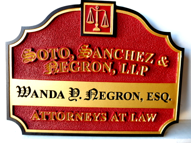 A10322 - Decorative Carved and Engraved  Law Office Sign, with Scales of Justice