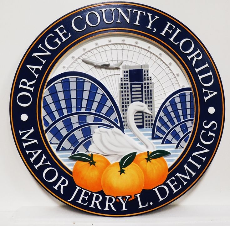 CP-1397- Carved Plaque of the Seal of Orange County, Florida,3-D Relief,  Artist Painted