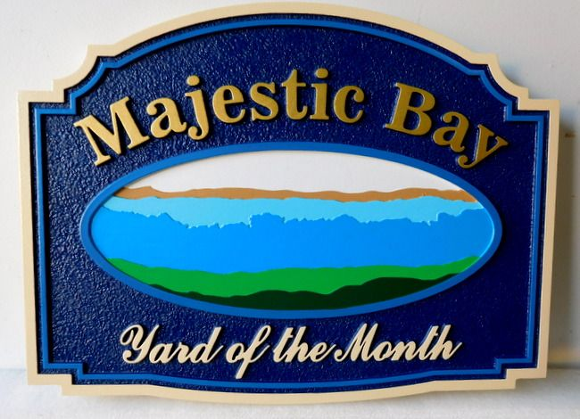 "KA20931 - ""Majestic Bay"" HOA Yard-of-the- Month.Sign,  with Scene of Majestic Bay and Surf"