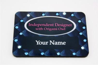 Blue Diamond Series Bling Name Badge