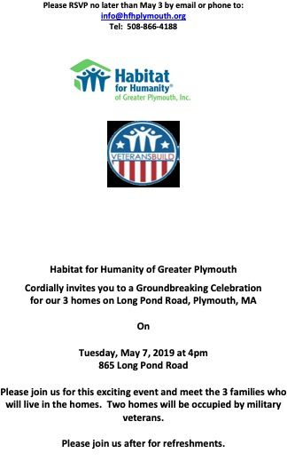 Save the Date for Plymouth Groundbreaking