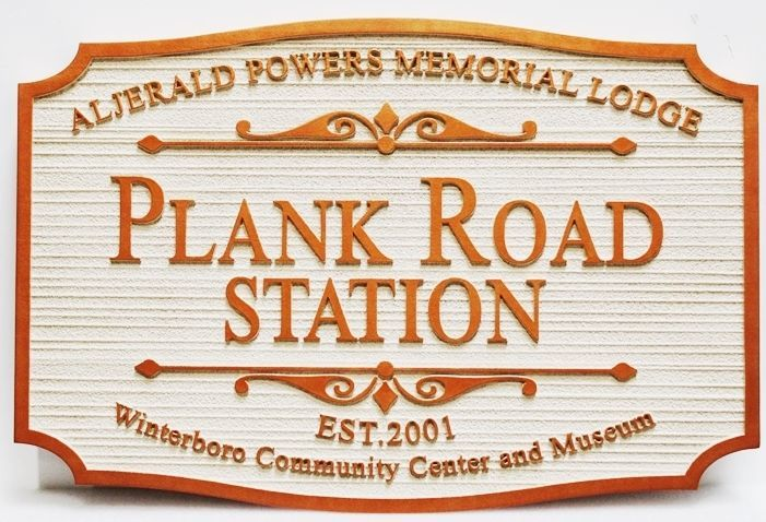 F15985 - Carved 2.5-D and Sandblasted Wood Grain Sign for the Historical Plank Road Station