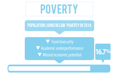 17 percent of the population in Dakota County Nebraska is living below the poverty line