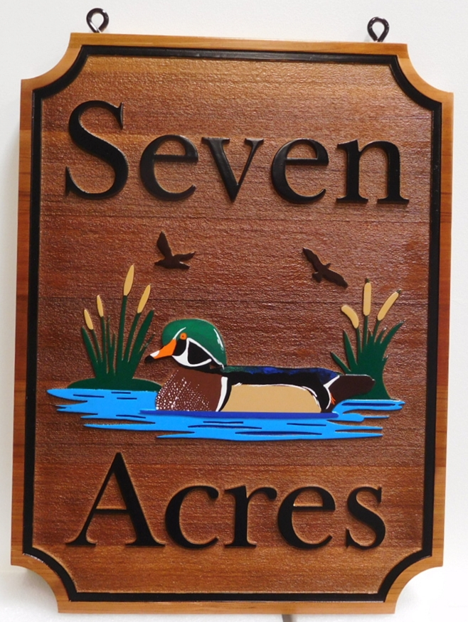 "M22715 - Carved Carved and Sandblasted Cedar Wood Cabin Sign ""Seven Acres"", with Mallard Drake Duck Swimming in Lagoon"