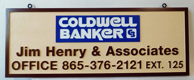 C12327- Carved and Sandblasted HDU Coldwell Banker  Realtor Sign, Raised Text, Art and Border