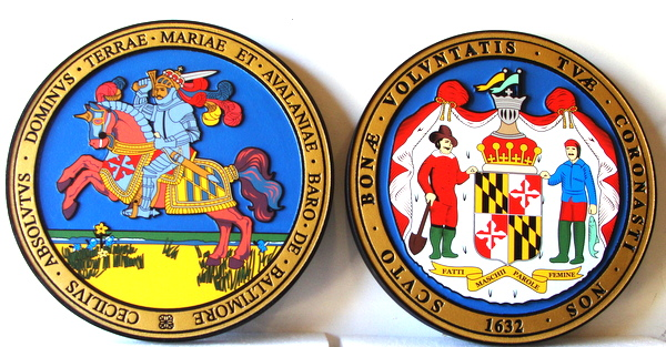 W32253 - Carved Wall Plaques of the Seal of the State of Maryland (both sides)