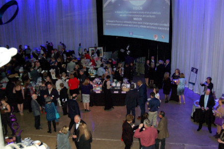 Silent Auction contributions from local vendors at the annual Chocolate Lovers' Fantasy Gala.