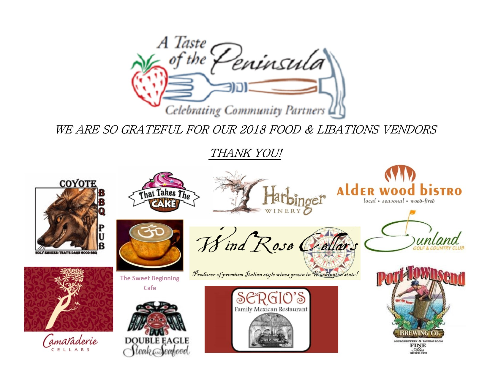 2018 A Taste of the Peninsula Food & Libations Vendors