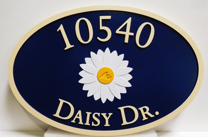 I18214 - Carved Elliptical Residence Address Signn, with Daisy Flower as Artwork