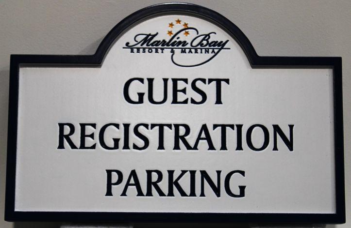 KA30722 - Engraved HDU Guest Registration Parking sign for the Marlin Bay Resort & Marina
