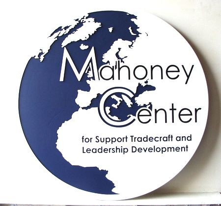 RP-1500 - Carved Wall Plaque of  the Seal of Mahoney Center, Artist Painted