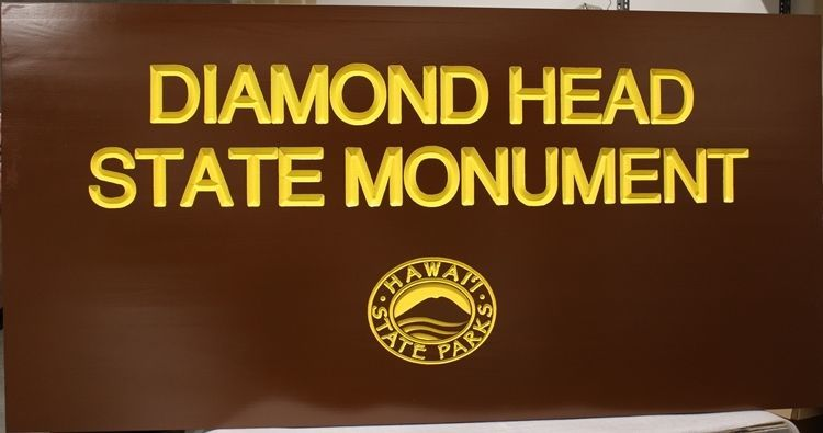 """G16232 - Large V-Carved Engraved Cedar Wood  Sign for """"Diamond Head State Monument"""", Hawaii State Parks"""