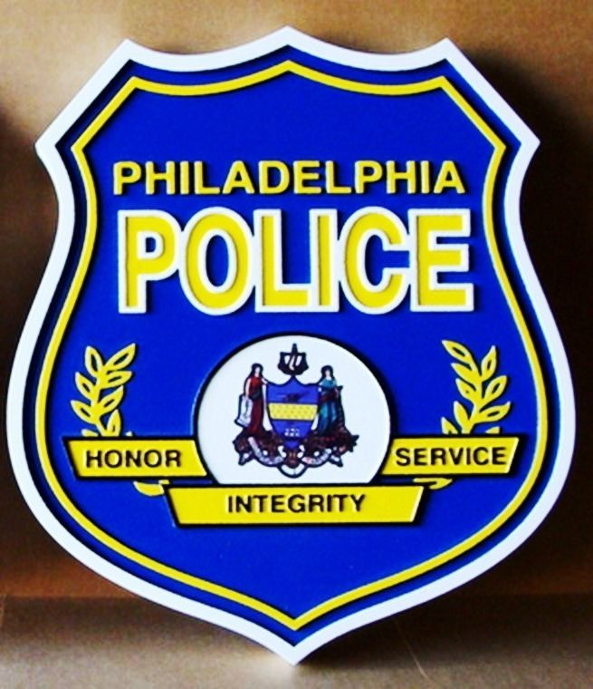 PP-3280 -  Carved Wall Plaque of the Seal of the Philadelphia Police Department ,  Artist Painted