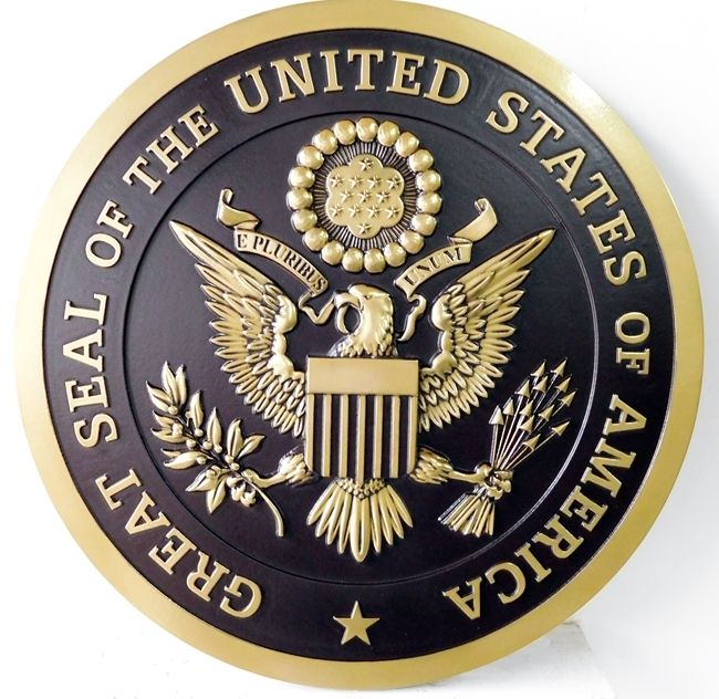 AP-1050 - Carved Plaque of the Great Seal of the United States, Metallic Brass Painted