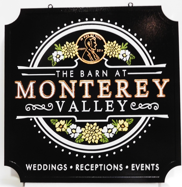 "Q25019 - Elegant  Carved Entrance Sign for the ""The Barn at Monterey Valley"" with Raised  Flower-themed  Logo"
