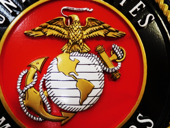 KP-1122 - Carved Plaque of Emblem of the US Marine Corps (Close-Up of Globe and Anchor). 3-D