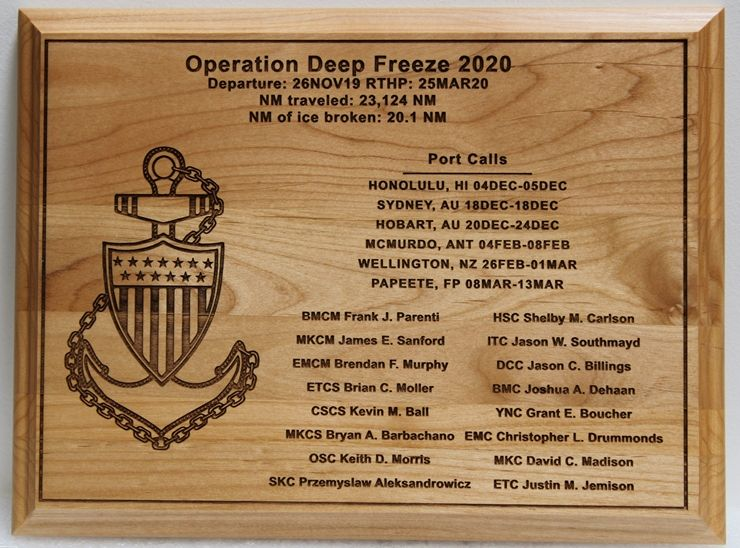 NP-2790  - Engraved Maple Wood Plaque for Plaque for Operation Deep Freeze 2020