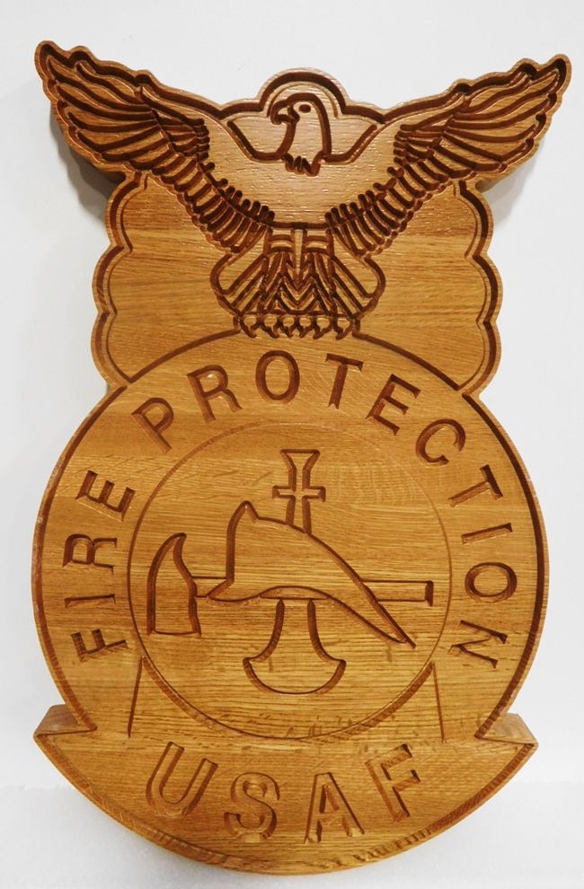 QP-1344 - Carved Plaque of the Crest/Badge of  US Air Force Fire Protection Squadrons, 2.5-D Engraved Mahogany