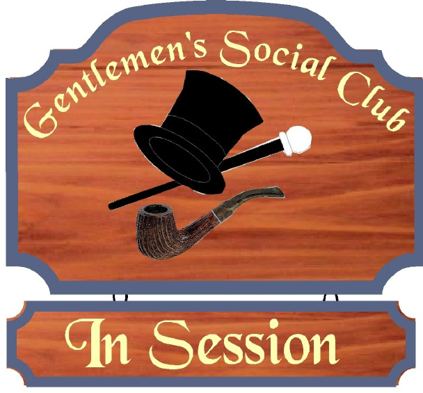 "N23627 -  Ornate Redwood  Wall Plaque for ""Gentleman's Social Club""  with  Artwork (Pipe, Top hat and Cane)"
