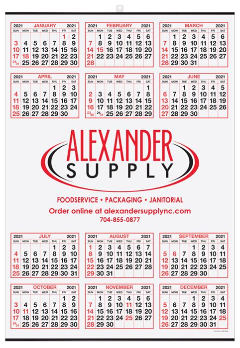 "Year-at-a-Glance Wall Calendar 19.5"" x 27"" - Middle Imprint DL-M929"