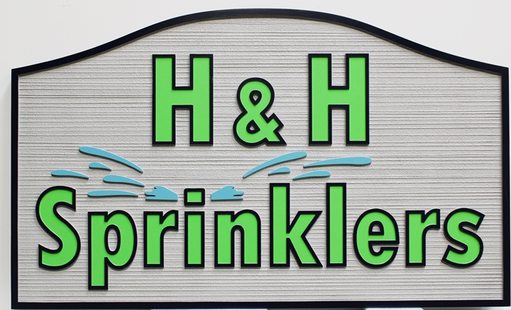 "S28142 - Carved and Sandblasted Wood Grain Sign  for the ""H&H Sprinklers"" Company, with Sprinkler as Artwork"