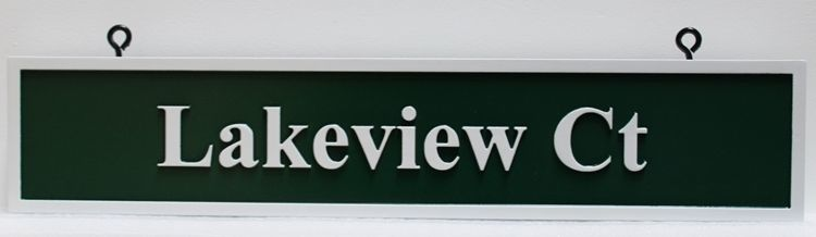 """H17088 - Carved 2,5-D HDU Street Name Sign """"Lakeview Ct"""" Hung from Scroll Bracket"""
