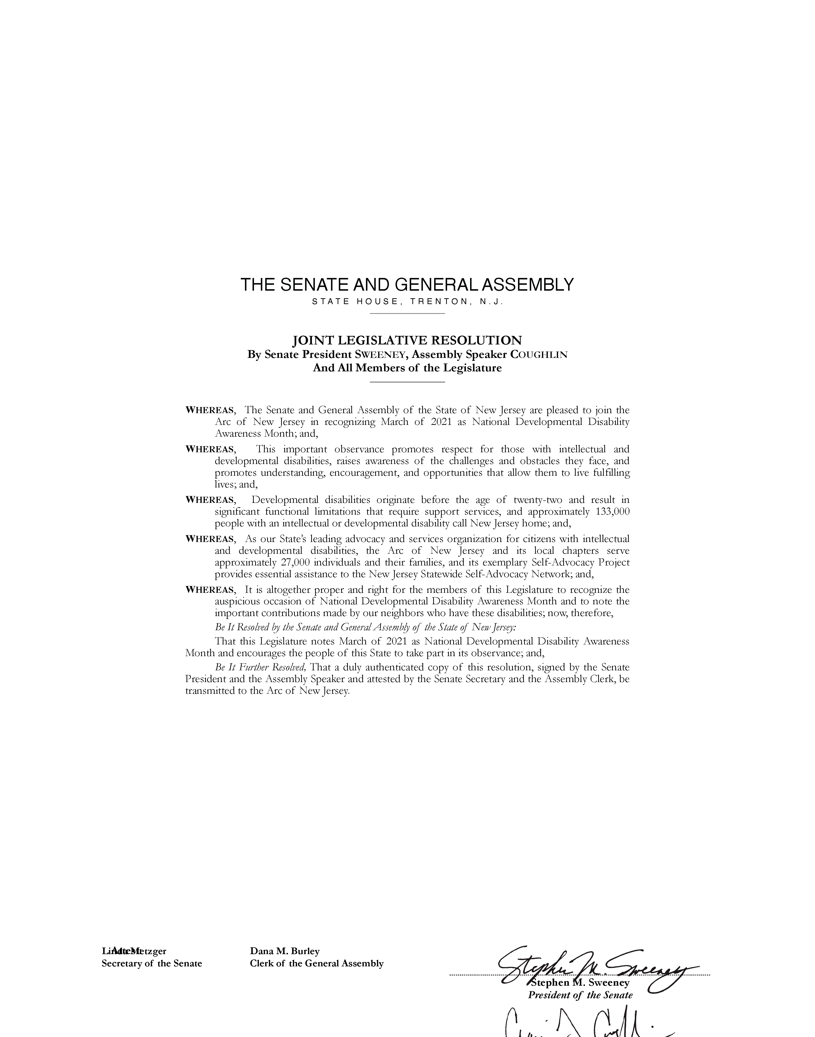 JOINT LEGISLATIVE RESOLUTION