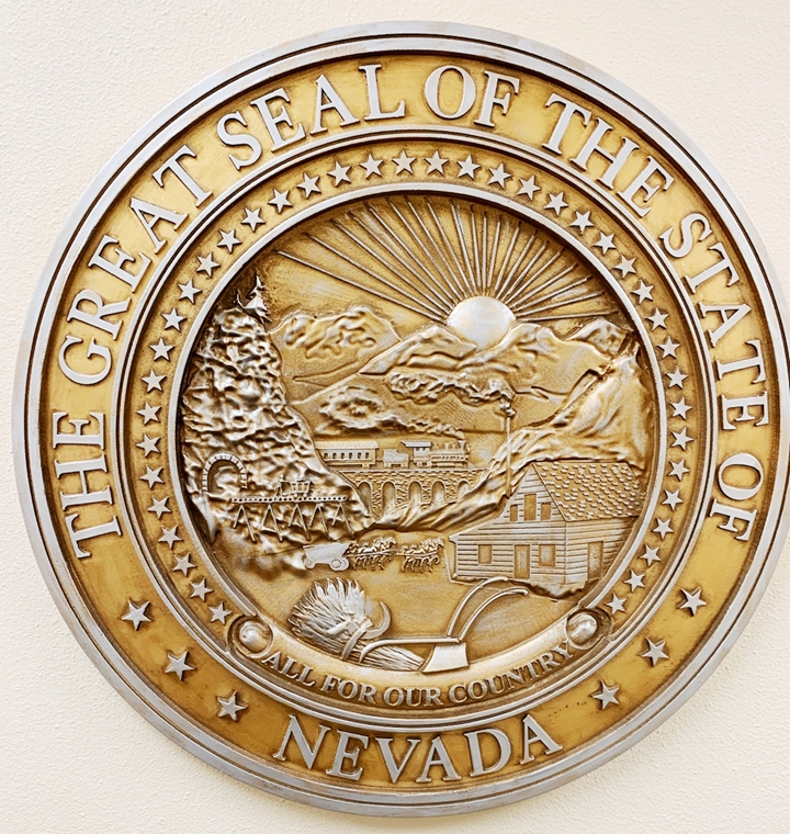 BP-1326- Carved Plaque of the Great Seal of the State of Nevada, Artist-Painted