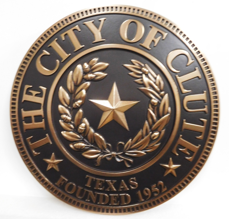 X33042 - 3-D Carved Bronze Plaque of the Great Seal of Texas for the City of Clute, Texas