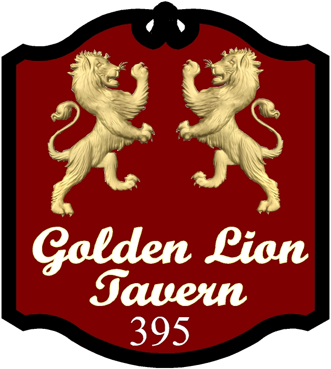 """Y27654 - Carved English Pub Sign for """"The Golden Lion Tavern"""" Sign, with Two Rampant 24K Gold-leaf Gilded Lions"""