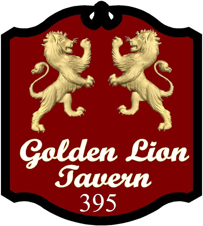 Y27654 - Double Golden Rampant Lion English Pub Sign