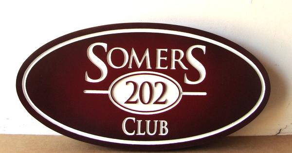 """Y27126 - Carved HDU """"Somers Club"""" Sign"""