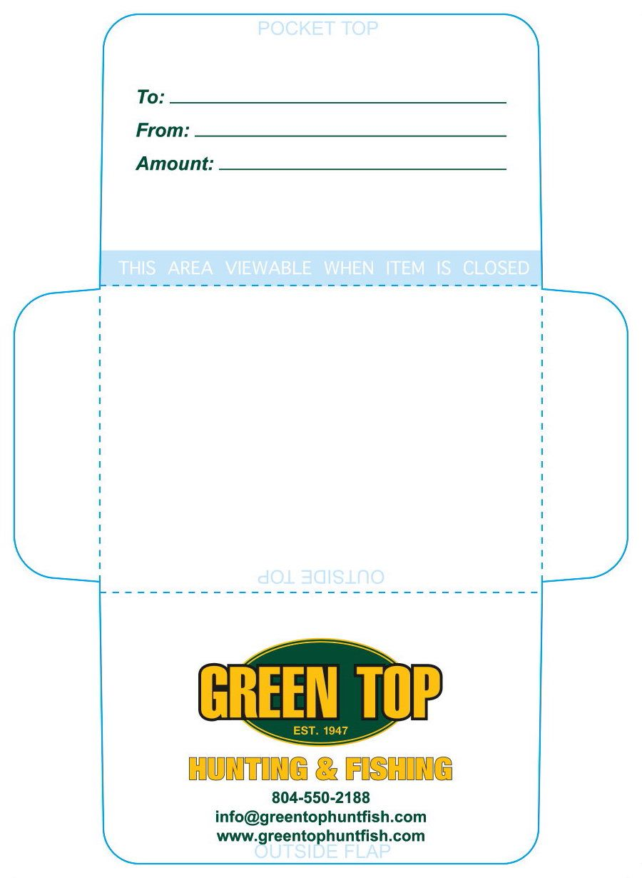 Green Top Gift Card Carrier