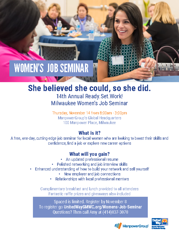 14th Annual Ready.Set.Work! Milwaukee Women's Job Seminar