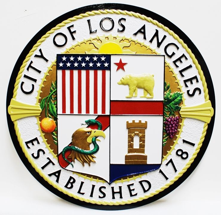 DP-1641 - Carved Plaque of theSeal of the City of Los Angeles, 3-D Artist-Painted