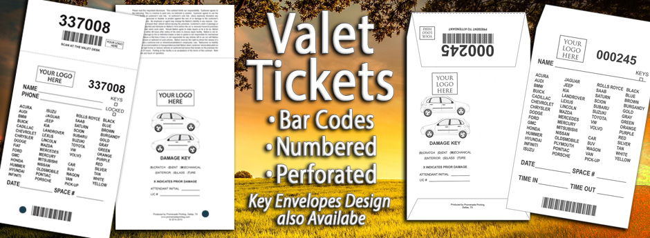 Valet Tickets bar codes numbered