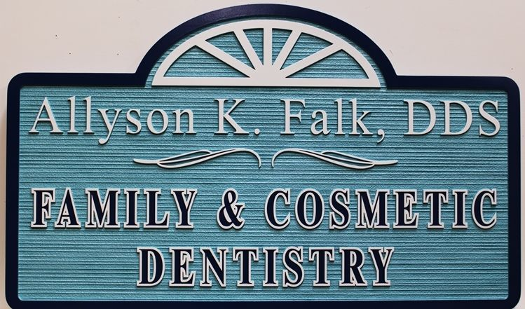"BA11531 - Carved Dimensional and Sandblasted Wood Grain HDU Sign for ""Allyson Falk, DDS - Family and Cosmetic Dentistry"""