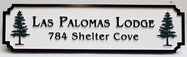 "T29168 - Carved Raised Text ""Las Palomas Lodge"" Address Sign"