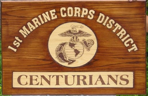 KP-2480 -  Carved Plaque, 1st Marine Corps District, Centurians, Red Oak Wood