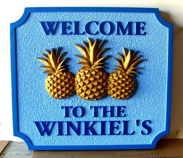 """L21808 - Carved """"Welcome"""" Residence Sign, with  Three Pineapples"""