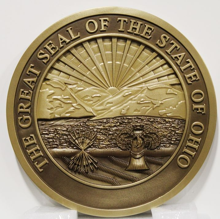 BP-1432 - Carved Plaque of the Great Seal of the State of Ohio, 3-D Brass-Plated, with Hand-Rubbed Bronze Paint Background