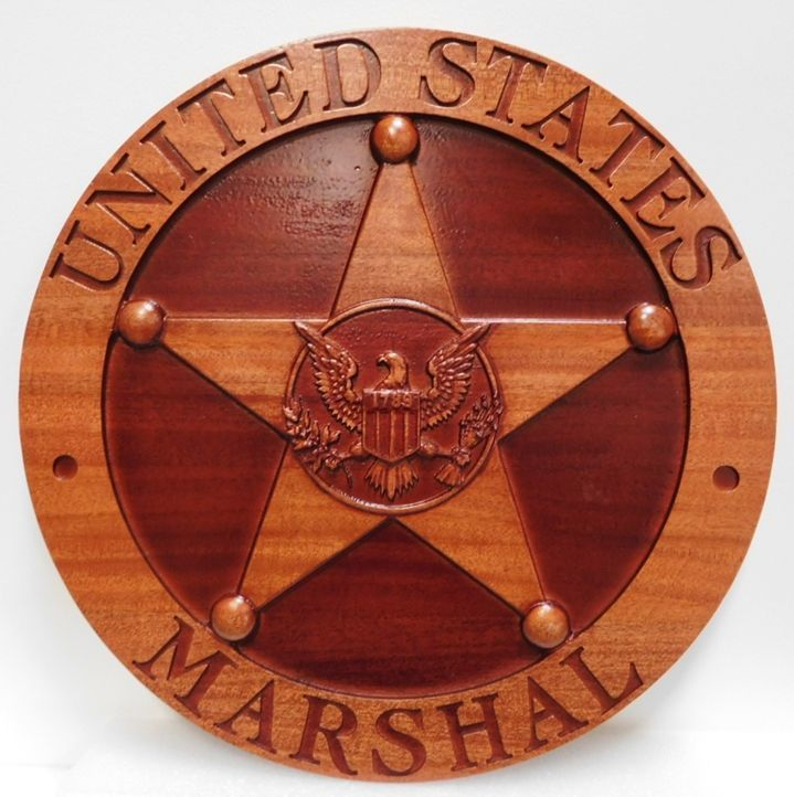 PP-1852 - Carved 3-D Mahogany Wood  Plaque of a Badge of a United States Marshall, Department of Justice