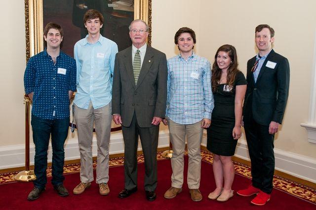 "Senate Majority Leader J.T. ""Jabo"" Waggoner with Indian Springs students, teacher"